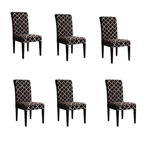 kaiyingyu Juego de 6 fundas elásticas para silla de poliéster, diseño de nubes de elastano, fundas protectoras para el hogar, hotel (marrón)