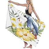 AIMILUX Toalla de Playa,Acuarela patrón Floral Tropical Hawaiano,Flor de Hibisco Amarillo,Plumeria Blanca,Loro Gris Jaco,Toallas de Baño Toallas de Acampada Piscina Natación Playa Ducha