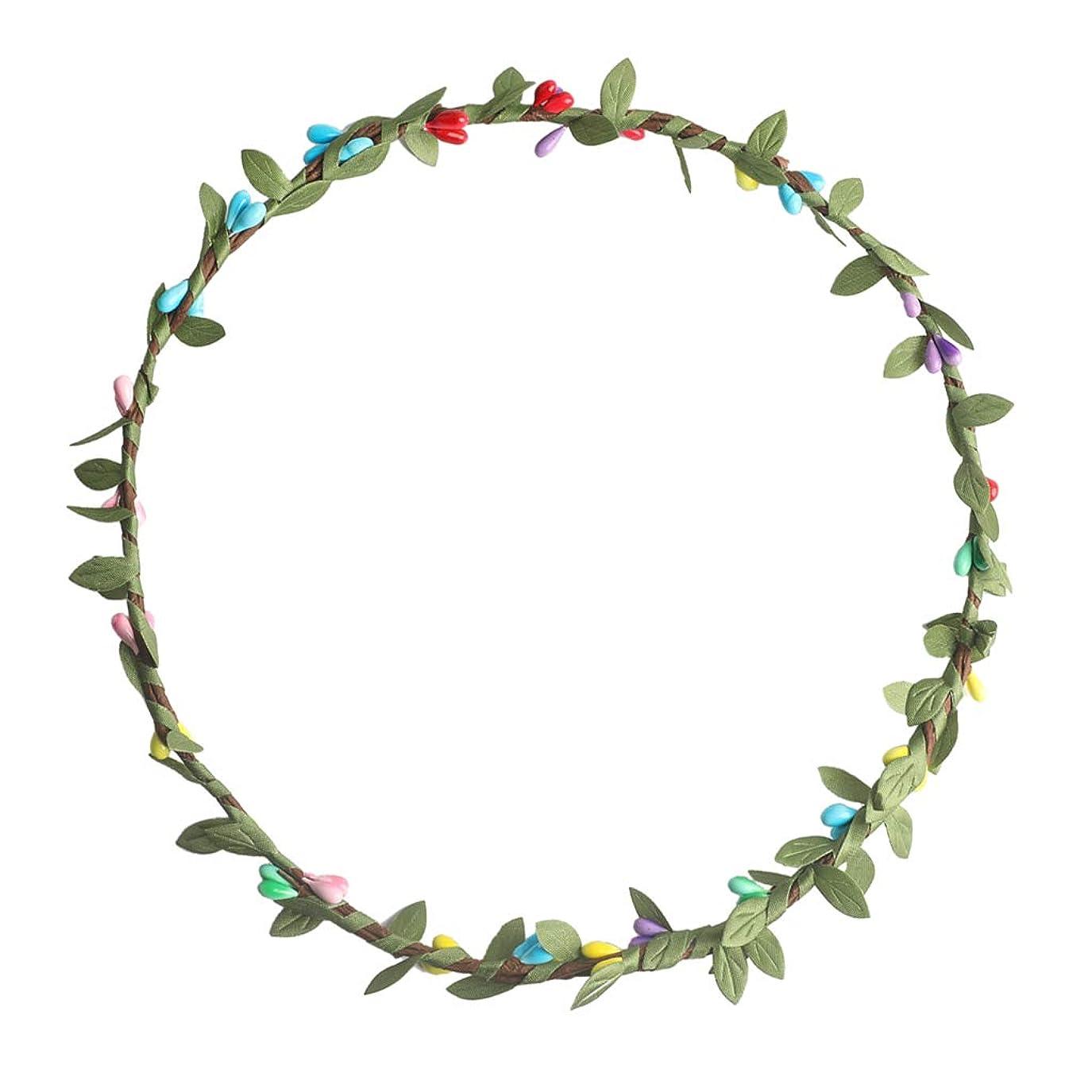 宿命症状本気FLAMEER ボヘミアン 花の葉 ガーランド ビーチ花輪 花冠 ヘアアクセサリー 写真撮影小道具 多色選べ - マルチ
