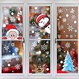 380Pcs Navidad Pegatinas para Ventana,12Hojas Pegatina de Ventanas Electrostáticas con Papá Noel y Alce para Navideña Decoración de Hogar y Tienda,Reutilizable Vinilos Calcomanías para Fiesta y DIY