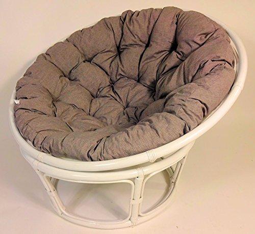 Rattan Papasansessel, Papasan Sessel inkl. hochwertigen Polster, D 110 cm, Fb. weiß lackiert, Polster Loneta dunkel grau
