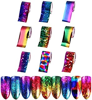 9 sheets psychedelic retro rainbow tie dye trippy Chrome NAIL FOILS holographic magical starburst nail stickers 3d nail art tattoo decals stencil nail stickers manicure decorations acrylic nail vinyls