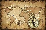 Fondo de concepto de navegación de geografía de viajes - Brújula retro vintage antigua, mapa del mundo, carteles, impresiones, lienzo, pintura, arte de pared, 50x70cm sin marco