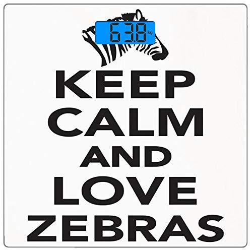 Bilancia digitale di precisione piazza Zebra Print Misurazioni accurate del peso della bilancia pesapersone in vetro ultra sottile,Mantieni la calma e ama le zebre scritte con citazione con zebra test