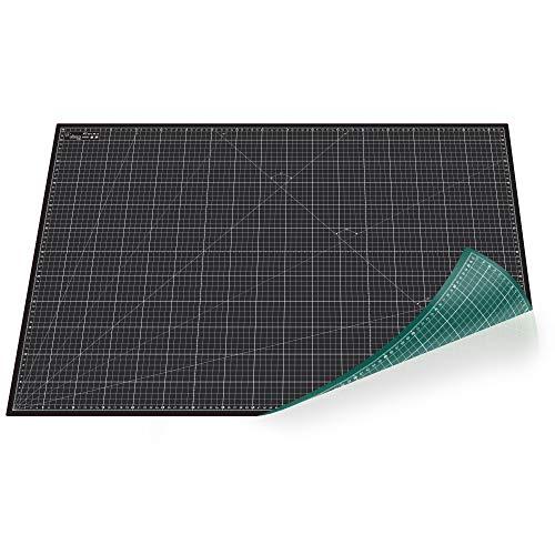Tapis de découpe professionnel par Altera - Dessous de découpe A1 (60 x 90cm) - Se répare automatiquement - Vert et noir des deux côtés avec grille