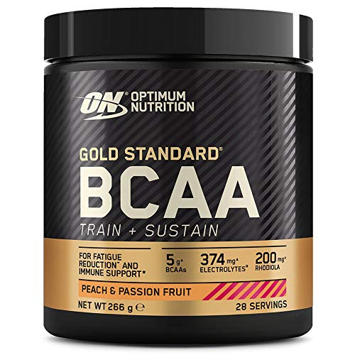 Optimum Nutrition Gold Standard BCAA, Amino Acid Powder, Vitamin C with Zinc, Magnesium and Electrolytes, Immune Booster, Peach and Passionfruit, 28 Servings, 266 g, Packaging May Vary