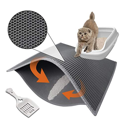 Pieviev Cat Litter Mat Anti-Tracking Litter Mat, 30' X 24' Inch Honeycomb Double Layer Waterproof Urine Proof Trapping Mat for Litter Boxes, Large Size Easy Clean Scatter Control (Scoop Included)