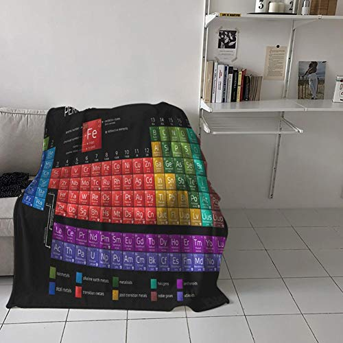 Manta Profesional para Tirar la Tabla periódica, 2019 Franela actualizada Diseño Colorido Manta de Microfibra cálida Exhibición de la Tabla periódica Amantes de la química del Regalo para Aprendizaje