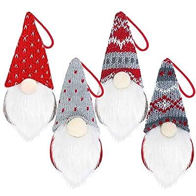 Timin Gnome Christmas Ornaments Set, Handmade Swedish Tomte Xmas Gnomes Plush Scandinavian Santa Elf Table Ornaments Christmas Tree Hanging Decorations Fireplace Home Decor (4 Pack)