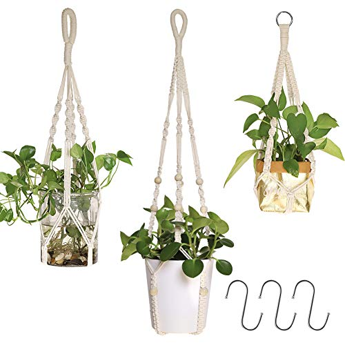 AceList Makramee Blumenampel, Pflanzen Aufhänger für Innen Außen Balkon Gartendekor, 3er Set Baumwollseil Hängeampel