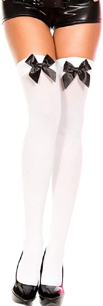 Abendedian Fashion Sexy Women Bowknot Thigh High Stockings Mesh Sheer Solid Color Japanese Socks Hose Long
