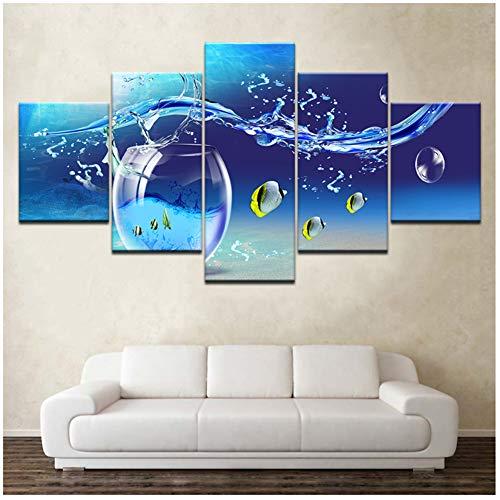 A&D canvasfoto's muurkunst 5 stuks zeelevende wezens tropisch glas foto's HD-prints blauwe zee poster wooncultuur -30x40 30x60 30x80cm geen lijst