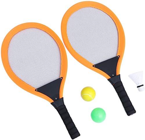 1 Paar Badminton Tennis Set Kinder Orange Weiche Tennis Schläger Set, Badminton Schläger Wasser Tennisschläger Tennisbälle Für Outdoor Garten Spiel Kinder Spielzeug, Freier Ozean Kugel, Badminton badm