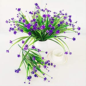 6 Pcs Artificial Daffodils Flowers Purple Simulation Daffodils Decoration Bushes Faux Floral Bouquets for Home Office Garden Yard Wedding