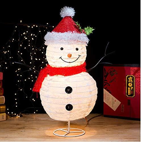 YANXS Schneemann Figur mit Weihnachtsmütze Roter Schal LED Beleuchtet Faltbar Metall Eisen Rahmen Weihnachten Deko für Innen Außen