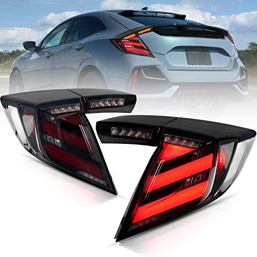 UXZEB LED Rückleuchten für Honda Civic 10th Gen Hatchback/Type R FK7 FK8 2018-2020 Lightbar Heckleuchten, Rücklicht mit Dynamik Blinker, mit E-Prüfzeichen (Schwarz 1)