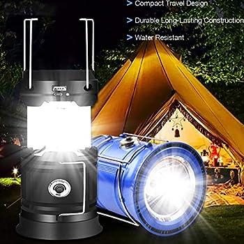 Lanterne de camping portable à LED-Lanterne solaire rechargeable par USB ultra lumineuse alimentée par batterie Lampe torche,pour camping,randonnée,abri de jardin en cas de pannes de courant(rouge)