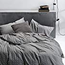 Wake In Cloud - Grey Duvet Cover Set, 100% Soft Cotton Bedding, Chevron Zig Zag Geometric Modern Pattern Printed on Gray, with Zipper Closure (3pcs, Twin Size)