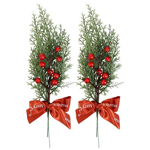 TOYANDONA 2Pcs Red Holly Berries Stems Christmas Pine Branches Artificial Pine Cones Branch Craft Wreath Pick Winter Holiday Floral Picks Holly Stem for Decoration Xmas Garland Crafts