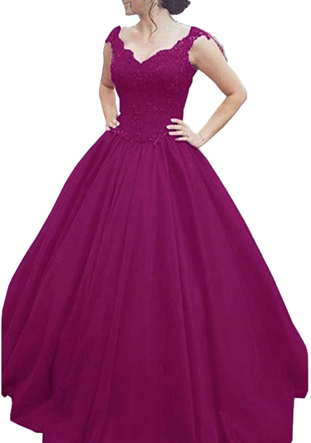 JQLD Womens Beaded Lace Prom Dress Cap Sleeve A Line Long Tulle Quinceanera Gown