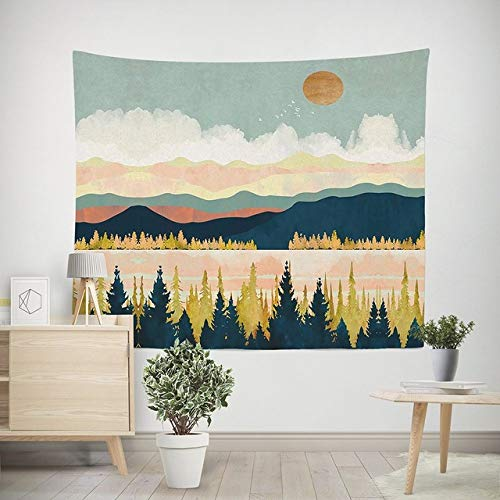 Multi-gekleurde wandtapijten hippie mandala muur opknoping polyester reizen camping zonsopgang psychedelisch tafelkleed slaapdeken, blauw, 150cm * 130cm