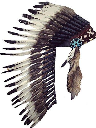 N72 Sombrero Indio , Penacho , Tocado de plumas de color negro y blanco con pelo marrón