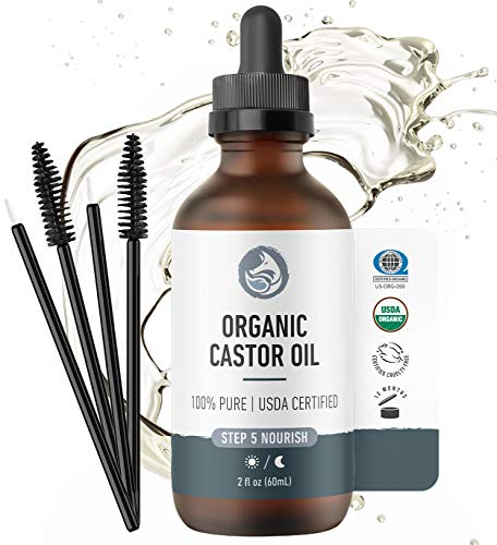 Foxbrim Organic Castor Oil - 100% Pure - Hexane Free - Grow Eye Lashes and Eye Brows - For Hair Skin and Nails - With Applicator Wand and Brush Kit - 2 oz