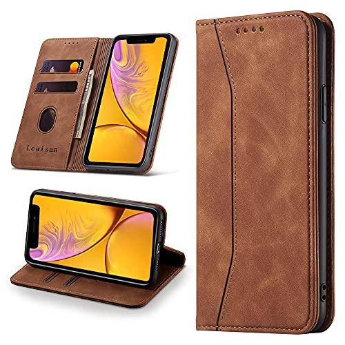 Leaisan Handyhülle für iPhone XR Hülle Premium Leder Flip Klappbare Stoßfeste Magnetische [Standfunktion] [Kartenfächern] Schutzhülle für iPhone XR Tasche - Braun