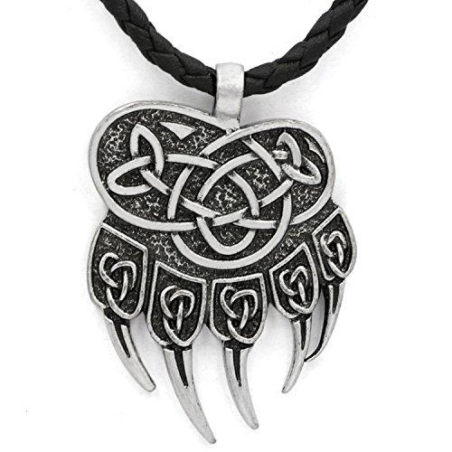 Halskette mit Anhänger, Steampunk, Mjölnir, mit Fenrir Nordic Bärentatze, aus Leder
