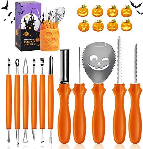 YALANLE Halloween Kürbis Schnitzset, Kürbis Schnitzwerkzeuge 11-teiliges Set, Zum Aushöhlen von Kürbissen Schnitz-Werkzeug