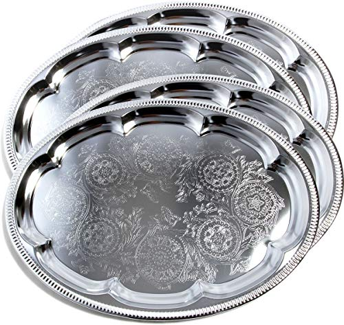 Maro Megastore (Pack of 4) 18.1-Inch x 13.3-Inch Traditional Oval Floral Pattern Engraved Catering Chrome Plated Serving Plate Mirror Tray Platter Metal Tableware Holiday Party Large T225-4pk
