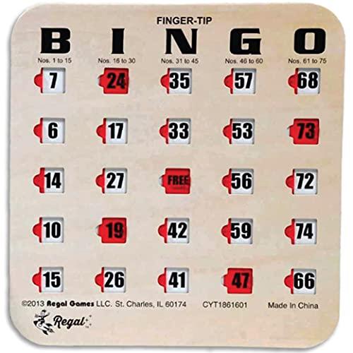 Regal Games Easy Read 4-lagige Finger-Tip Shutter Slide Bingo Karten, 50 Stück, Hellbraun/Holzmaserung