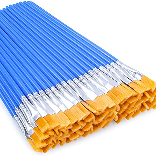 Flat Paint Brushes 50 Pcs, Anezus Craft Paint Brushes for Kids Small Paint Brushes Bulk for Detail Painting Acrylic Children Beginners Artist