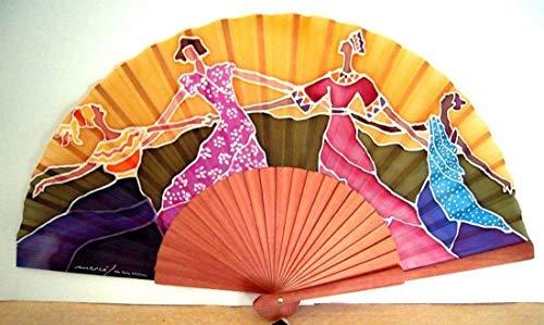 """Abanico de seda natural pintado y montado a mano""""Danza de mujeres"""""""