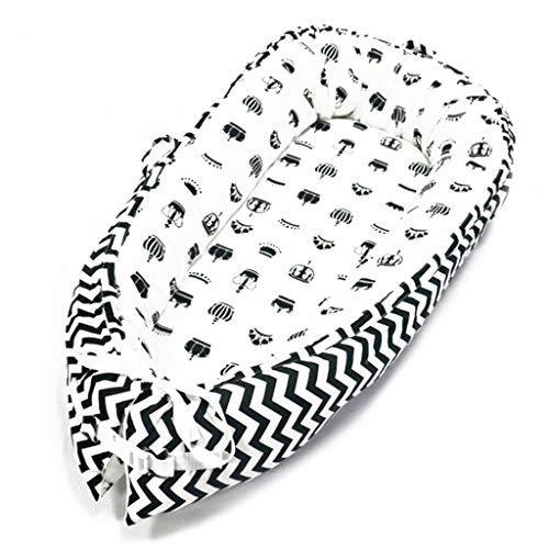Babynest Kuschelnest für Neugeborenes Tragbare Abnehmbare und Waschbare Krippe Reisebett Nest Bett Krippe Baumwollmischung Sicherheit Kuschelbett für Baby 0-3 Jahre alt (O)