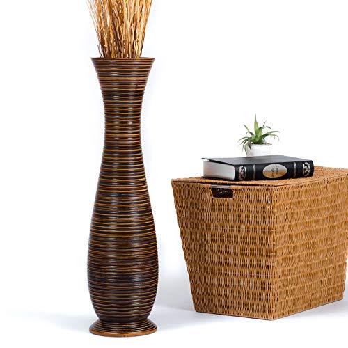 Leewadee Jarrón de Suelo Grande Alto, jarrón Hecho a Mano de Madera de Mango, contenedor de pie para Las Ramas Decorativas, 75 cm, marrón