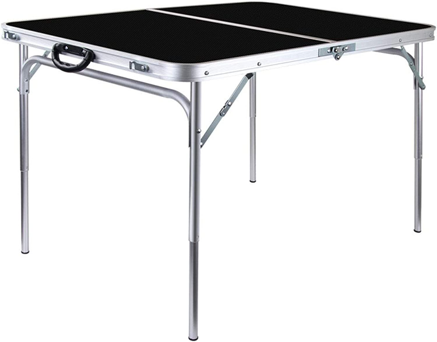 ZK Portable and Adjustable Hight,Fold-in-Half Portable Table 4 Foot,,Folding Table for Camping, Beach, Backyards, BBQ, Party and Picnic (color   Black)