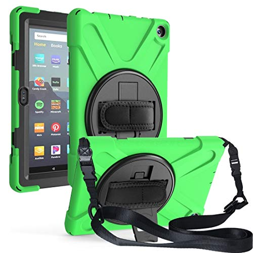 XHEVAT Tablet PC Cases For Amazon Kindle Fire HD8 (2020) Shockproof Colorful Silicone + PC Protective Case with Holder & Shoulder Strap & Hand Strap (Color : Green)