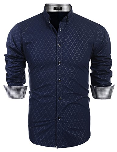 Burlady Herren Hemd Regular Fit Diamant-Gitter Karohemd Kariert Langarmshirt Freizeit Business Party Shirt für Männer (M, Dunkel blau)