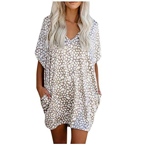 Amazing Deal Dosoop Women Summer V Neck Leoprad Short Sleeve Dress Loose Casual Swing Tunic Beach Mi...