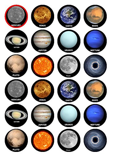 cakethat 24x essbare Tortendekorationen, mit Solar-System-Motiv, Planeten, Essbare Oblaten