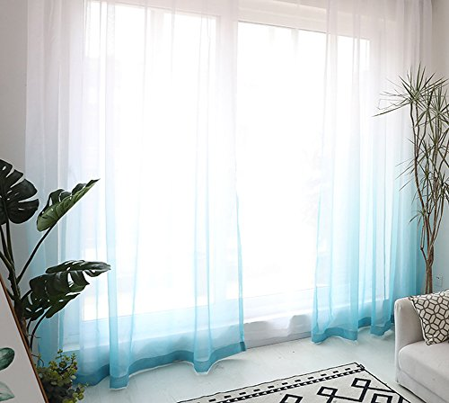 HooHero Sheer Curtains Elegance Window Panels Ombre Tulle Curtain Rod Pocket Drapes for Living Kids Room Kitchen Balcony(1 Panel, W 52 x L 63 inch, Green)