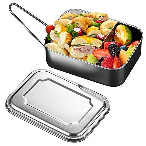 TOCYORIC Lunch Box in Acciaio Inossidabile, Bento Box per Adulti e Bambini, Scatole bento Pranzo in Acciaio Inossidabile con divisorio, sostenibile, a