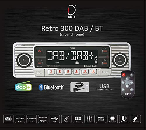 Dietz Retro Radio300DAB/BT, DAB+, BT, MP3, USB, RDS Chrom