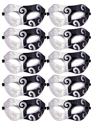 Unisex Retro Masquerade Mask Mardi Gras Costume Party Acccessory Silver and Black