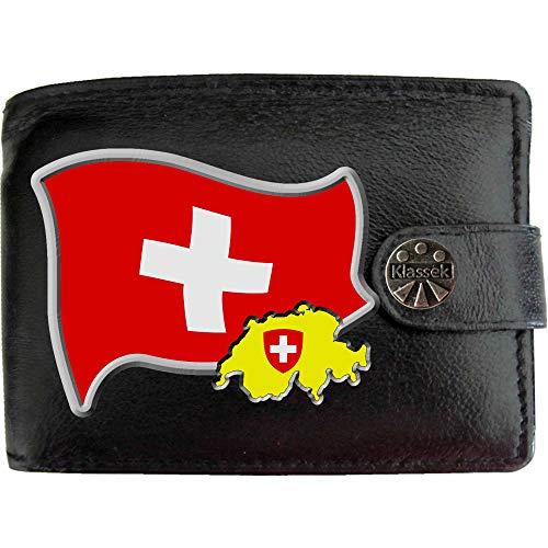 Switzerland Flag Schweiz Flagge Karte Wappen Bild auf KLASSEK Marken Herren Geldbörse Portemonnaie Echtes Leder RFID Schutz mit Münzfach Zubehör Geschenk mit Metall Box