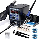 Hot Air Station Rework 8786D-I Soldering Iron Station with LCD Digital Display, Cold/Hot Air Conversion, Soldering Iron Desoldering-Gun Station with Digital Temperature Correction and Sleep Function