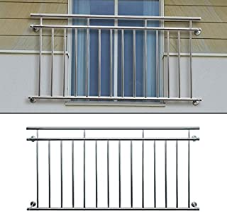 ECD Germany Balcón Estilo Francés - Con Barras Transversales - Balcón de Acero Inoxidable - 100x90 cm - Barra de rejilla soporte ventanas - Barandilla de terraza