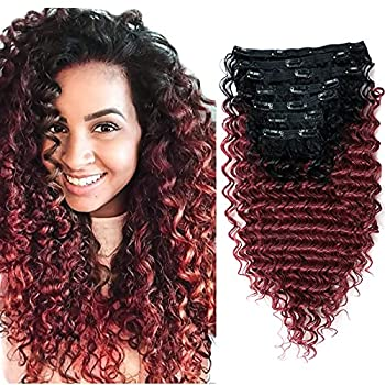 Deep Wave Clip In Hair Extension Human Hair Feeling Double Weft Hairpiece Synthetic For Women Thick Ombre Hair Extension Clips Natural Looking 24 Inch T1B/BURG