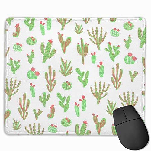 Pflanzen Stoff, Kaktus, Kakteen Stoff, tropische rechteckige rutschfeste Gaming Mauspad Tastatur Gummi Mauspad für Heim- und Büro-Laptops